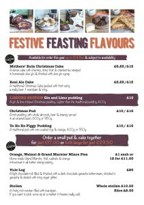 Festive Feasting Price List 2017